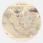 1858 mapa del departamento del Vendee, Francia Etiquetas Redondas