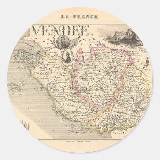 1858 mapa del departamento del Vendee Francia Etiquetas