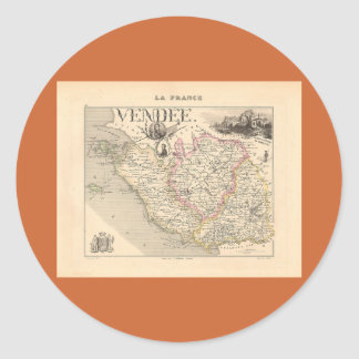 1858 mapa del departamento del Vendee Francia Etiqueta