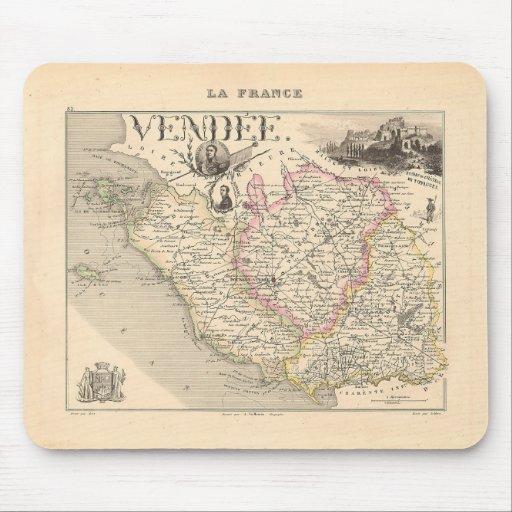 1858 mapa del departamento del Vendee, Francia Alfombrillas De Ratón