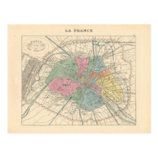 1858 mapa d'Enceinte de la MUR de París y del hijo Postales