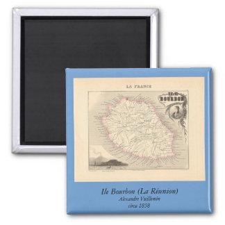 1858 mapa - Ile Borbón (reunión del La) - Francia Imán Cuadrado