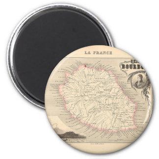 1858 mapa - Ile Borbón (reunión del La) - Francia Imán Redondo 5 Cm