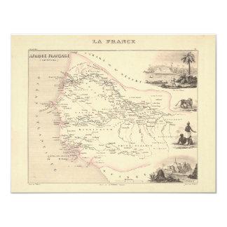 """1858 mapa - Senegambie (Senegal) - Francia Invitación 4.25"""" X 5.5"""""""