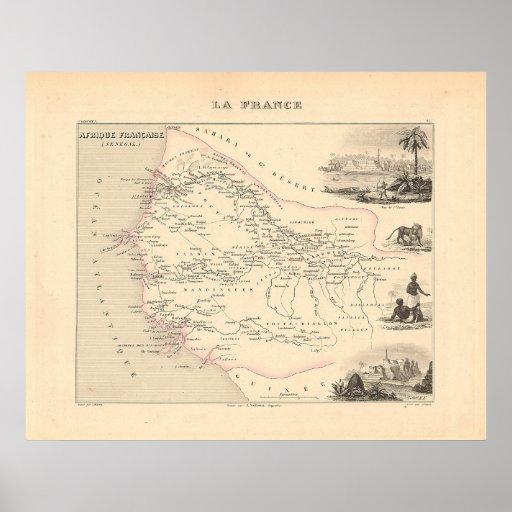 1858 mapa - Senegambie (Senegal) - Francia Póster