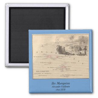 1858 marqueses de Iles del mapa, Francia (isla de Imán Cuadrado