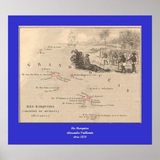 1858 marqueses de Iles del mapa, Francia (isla de  Poster