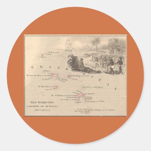 1858 marqueses de Iles del mapa, Francia (isla de Pegatina Redonda
