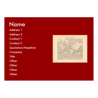 1858 World Map Planisphere - France Business Cards