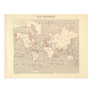 1858 World Map: Planisphere - France Flyer