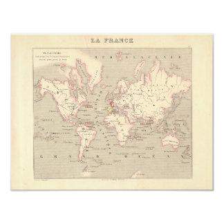 "1858 World Map: Planisphere - France 4.25"" X 5.5"" Invitation Card"