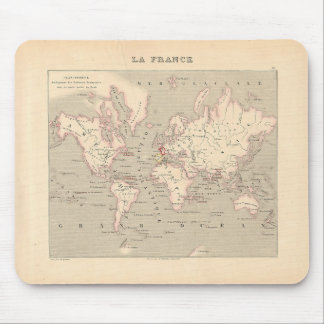 1858 World Map Planisphere - France Mouse Pad
