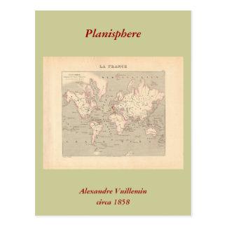 1858 World Map: Planisphere - France Postcard