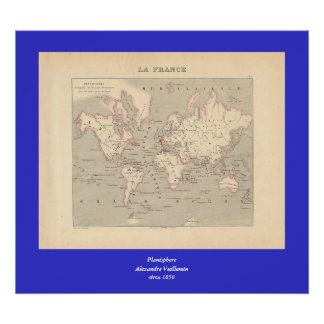 1858 World Map: Planisphere - France Poster