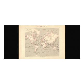 1858 World Map: Planisphere - France Custom Rack Cards