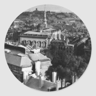 1859:  A view of Boston looking south Classic Round Sticker