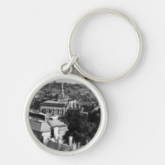 1859:  A view of Boston looking south Silver-Colored Round Keychain