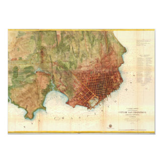 1859 Coast Survey Map of San Francisco Custom Invitations