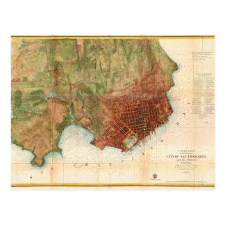 1859 Coast Survey Map of San Francisco Postcard