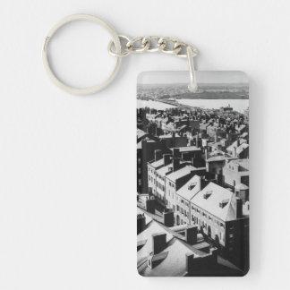 1859: La ciudad de Boston, Massachusetts Llavero Rectangular Acrílico A Doble Cara
