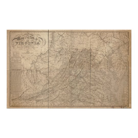 1859 Map of Virginia Poster
