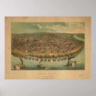 1859 St. Louis MO Birds Eye View Panoramic Map Poster