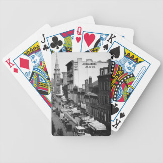 1859:  Traffic and shops on Washington Street Bicycle Playing Cards