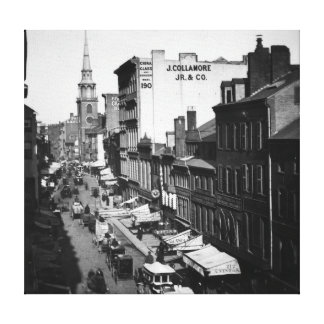 1859:  Traffic and shops on Washington Street Canvas Print