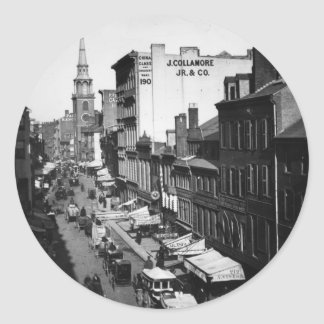 1859:  Traffic and shops on Washington Street Classic Round Sticker