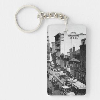 1859:  Traffic and shops on Washington Street Double-Sided Rectangular Acrylic Keychain