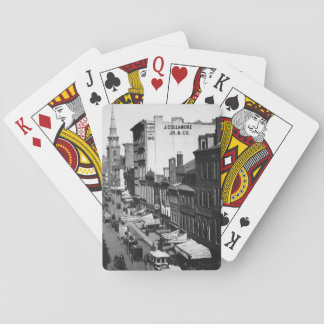 1859:  Traffic and shops on Washington Street Playing Cards