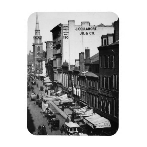 1859:  Traffic and shops on Washington Street Vinyl Magnets