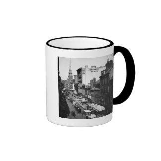 1859:  Traffic and shops on Washington Street Ringer Mug