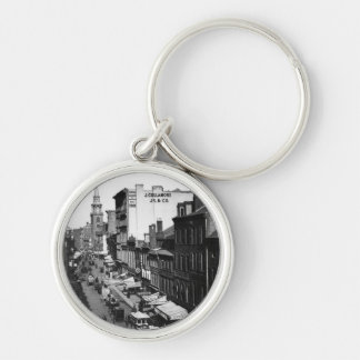 1859:  Traffic and shops on Washington Street Silver-Colored Round Keychain