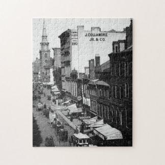 1859:  Tráfico y tiendas en la calle de Washington Rompecabezas Con Fotos