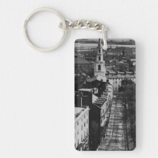 1859:  Una vista de Boston de la casa del estado Llavero Rectangular Acrílico A Doble Cara