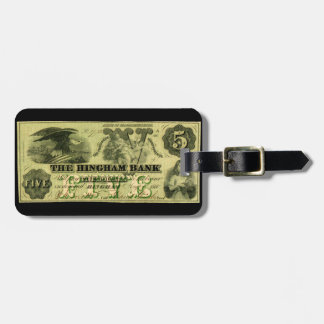 1860 Hingham Massachusetts Five Dollar Note Tags For Luggage