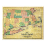 1860 map of the Shore Line Rail Road Gallery Wrapped Canvas