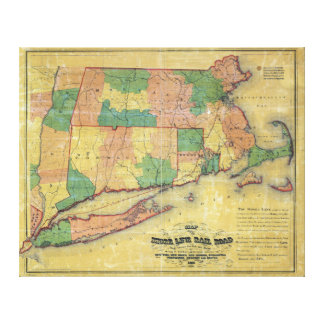 1860 map of the Shore Line Rail Road Canvas Print