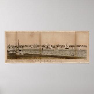 1860 Newport, mapa panorámico de la opinión de ojo Impresiones