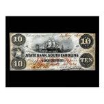 1860 South Carolina Ten Dollar Note Postcard