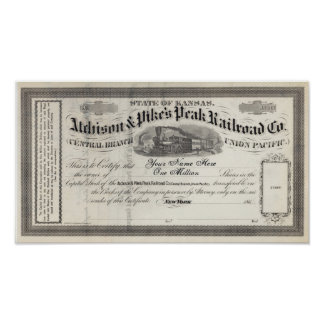 1860s Customizable Railroad Stock Certificate Poster