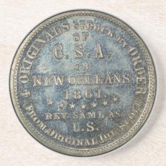 1861 50C Confederate Scott Restrike Civil War Coin Coaster