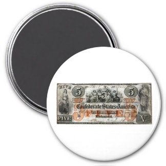 1861 Confederate Five Dollar Note 3 Inch Round Magnet