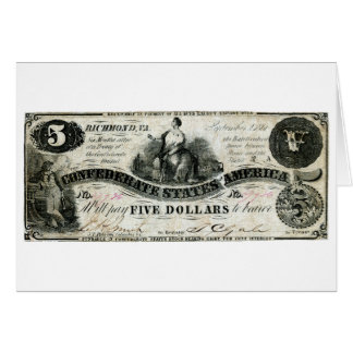 1861 Confederate Five Dollar Note Greeting Card