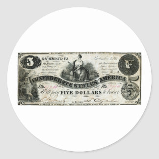 1861 Confederate Five Dollar Note Classic Round Sticker