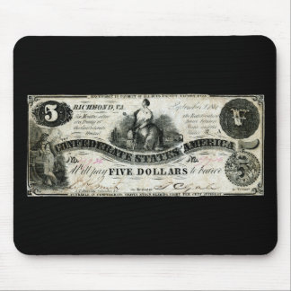1861 Confederate Five Dollar Note Mouse Pad