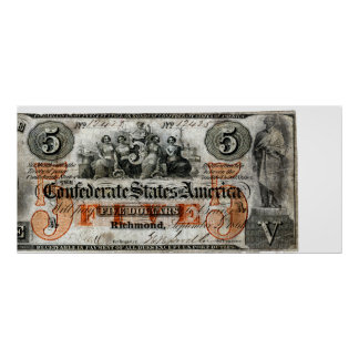 1861 Confederate Five Dollar Note Poster