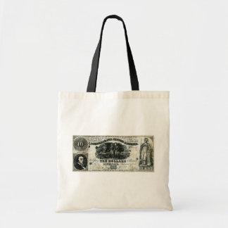 1861 Confederate Ten Dollar Note Canvas Bags