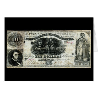 1861 Confederate Ten Dollar Note Card